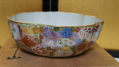 Beautiful Japanese Old Kutani Bowl Fleur Mille hand painted w/wooden box signed