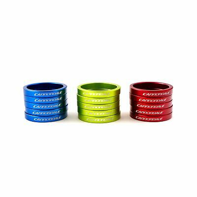 "Cannondale Super Light  Bicycle Headset Spacer 1-1/8""x5mm 5pc Green-Blue-Red"