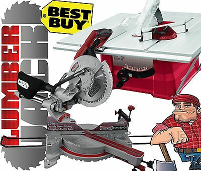 """Lumberjack 10"""" Bench Table Saw with 250mm Sliding Compound Mitre Saw 240v"""