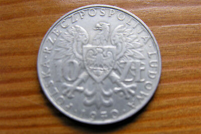 Rare Silver Coin Poland 10 Zloty 1970 Good condition  celebrating togetherness