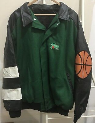 Vtg 7UP Shootout Jacket Size XL Leather Wool Made in USA Identity Inc Basketball