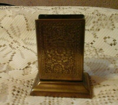 Vintage Engraved Brass match box holder. (Kinco)