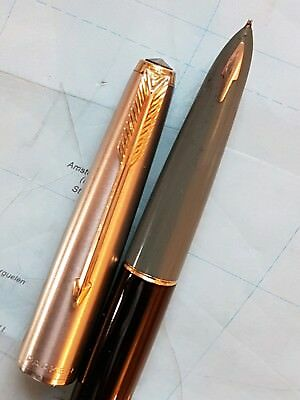 Parker 61 fountain  pen with  lustroloy cap & 14k solid gold nib excellent con