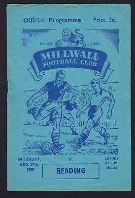Football Programme Millwall v Reading Division 3 South 27 August 1955