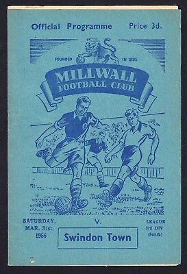 Football Programme Millwall v Swindon Town Division 3 South 31 March 1956