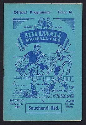 Football Programme Millwall v Southend United Division 3 South 28 April 1956