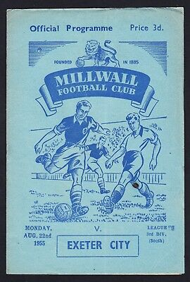 Football Programme Millwall v Exeter City Division 3 South 22 August 1955