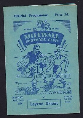 Football Programme Millwall v Leyton Orient Division 3 South 30 April 1956