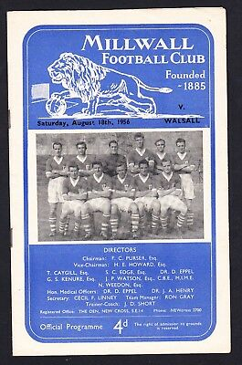 Football Programme Millwall v Walsall Division 3 South 18 August 1956