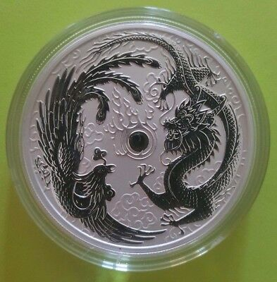 "Silver 2017 ""ERROR"" 1 oz DRAGON AND PHOENIX COIN - PEARL OF WISDOM - Perth Mint"