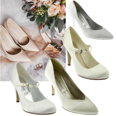 ee7bbaa087c Womens wedding shoes Ladies heels satin bridal bridesmaid white ivory court  shoe