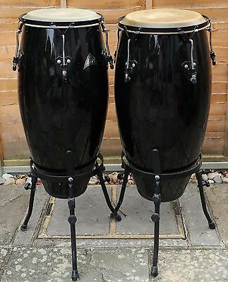 """Pair of congas - 11"""" & 10"""" with stands"""