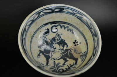 Large Antique Chinese Blue & White Porcelain hand Painted *people/horse* Bowl