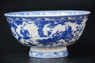Chinese Qing Dy Blue and white porcelain *Ancient figures * High foot Bowl