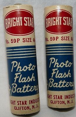 Vintage Bright Star Photo Flash Batteries No, 59P Size AA x 2 Display 10/57 Date