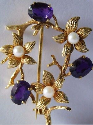 VINTAGE 9ct GOLD BROOCH with set AMETHYST & PEARL BROOCH