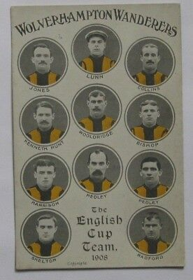 1908 Postcard Wolverhampton Wanderers/Wolves. The English Cup Team.