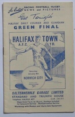 1959/1960 Halifax Town v Norwich City. Div 3