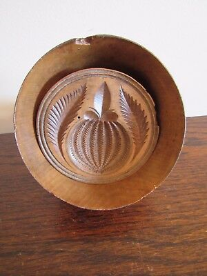 Antique1860s Primitive Wooden Butter Mold Hand Carved Folk Art Pineapple Motif