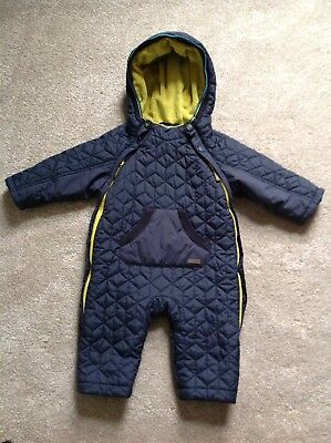 Baby Boys Navy Blue Ted Baker Snow Pram Suit All In One Coat Age 9-12 Mths