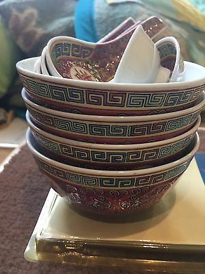 Antique chinese bowl, spoon and sauce set.  Set of 4 bowls, 3 spoons and 2 sauce