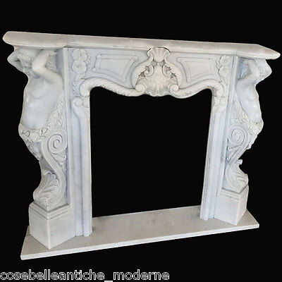 Fireplace Classic White Marble with Sculptures White Marble Fireplace Sculpture