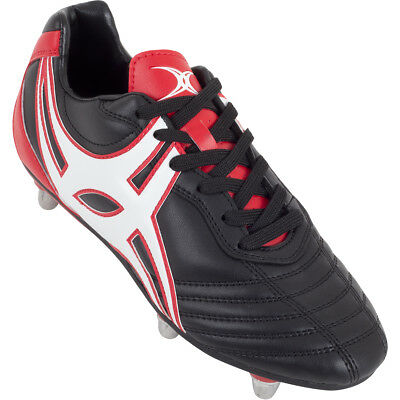 Clearance New Gilbert Sidestep XV 6 Stud Red/ Black Rugby Boots Junior Size 3
