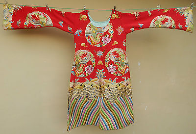 Antique Chinese Silk Hand Embroidered Dress Textile #33