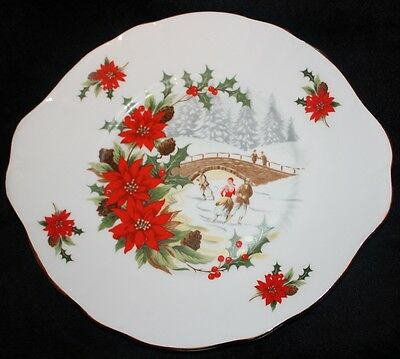Vtg Pall Mall Ware England bone china Cake Plate Skaters on River Poinsettias