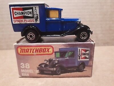 MATCHBOX LESNEY superfast #38 MODEL A FORD CHAMPION VAN with box