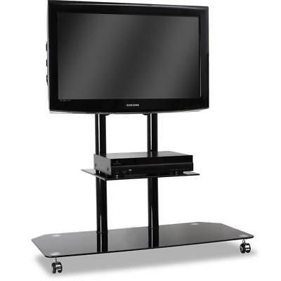 Home Cinema Tv Stand Cabinet Lcd Mount Black Glass Base
