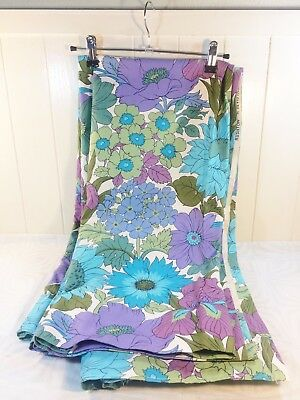 "Vintage Retro 60s Flower Power Curtains Pair Printed Floral Material 52"" x 46"""