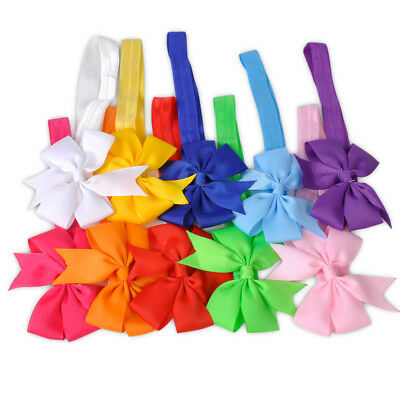 10Pcs Baby Girls Kid Hairband Bow Elastic Band Headband Flower Hair Accessories