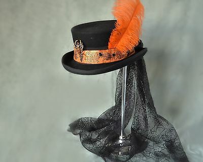 STEAMPUNK SHORT TOP HAT WITH SPIDER LACE/SPIDER BAND AND SPIDER 55cms