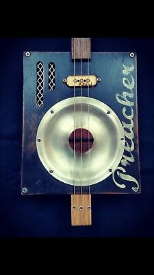 cigar box guitar 3 string resonator.electric acoustic