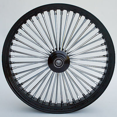 "Black & Chrome 48 King Spoke 21"" x 3.5"" Front Wheel for Harley and Custom Models"