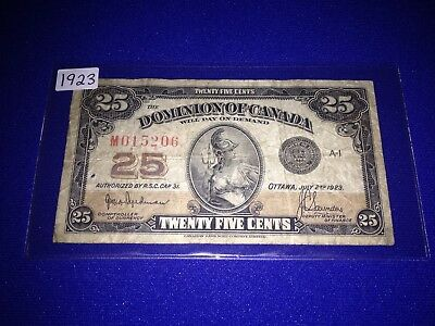 """Dominion Of Canada 1923 Shinplaster - """"check Letter M""""- Authorized - Lot H-2"""