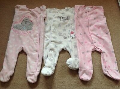 three baby girls FLEECED sleepsuits, 3-6 months