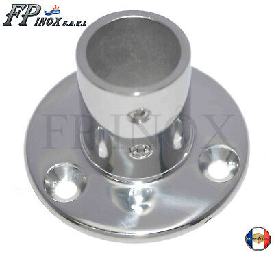 Embase / Platine Ronde 22mm De Luxe Droite 90° inox 316 - A4--