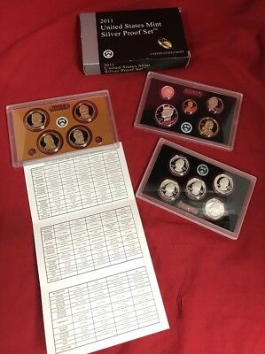 2011 S United States Mint Silver Proof Set, with Box/Coa San Francisco