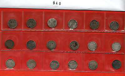 Lot 940: Canada 5 cents Nickels Silver Collection - 18 coins - various condition