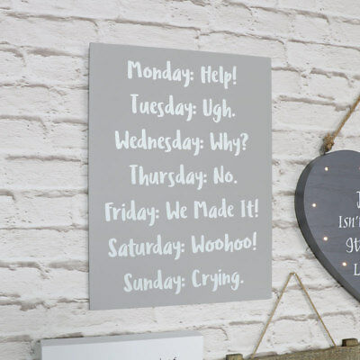 Grey wooden wall mounted plaque humourous days of the week funny quote gift idea