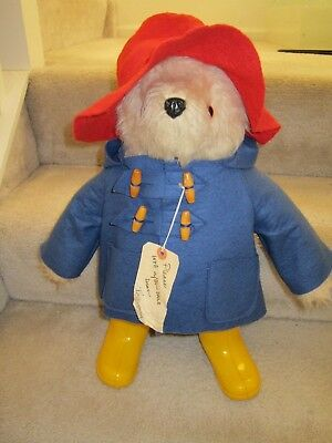 "Vintage Gabrielle Paddington Bear Wearing Yellow Rain Boots 19"" Tall"