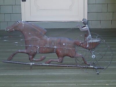 Antique Vintage Copper SULKY DRIVER & HORSE WEATHERVANE 33""