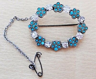 Edwardian Lace Forget Me Not Brooch Turquoise and Clear Paste Stones