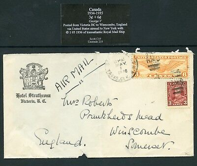 Canada – Mixed Postage & Transit Markings From Victoria To England 1936