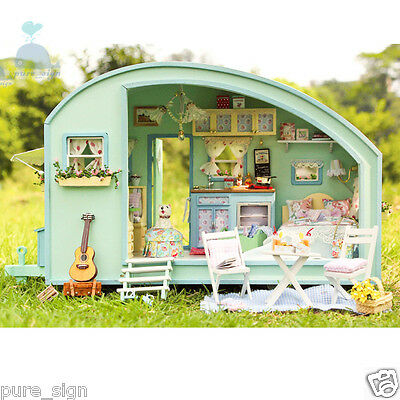 DIY Handcraft Miniature Project Wooden Dolls House My Stylish Holiday Caravan