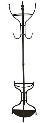 Wall Fixed Metal Hat And Coat Stand Slightly Distressed Bronze Colour LK921