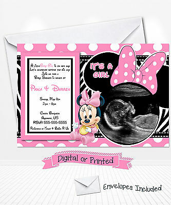 PRINTED BABY MINNIE Mouse Baby Shower Invitations Minnie Party