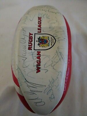 Signed Mini Leather Wigan Rugby League Ball